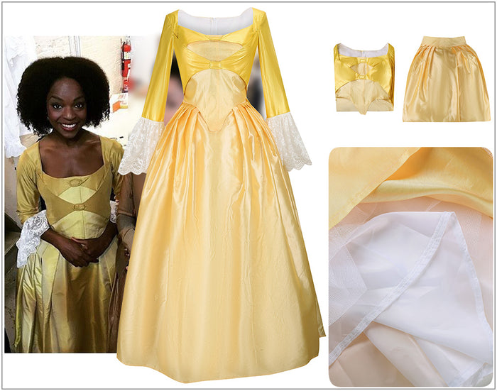 Kids Version Musical Hamilton Peggy Light Yellow Dress Child Size Cosplay Costume Carnival Halloween