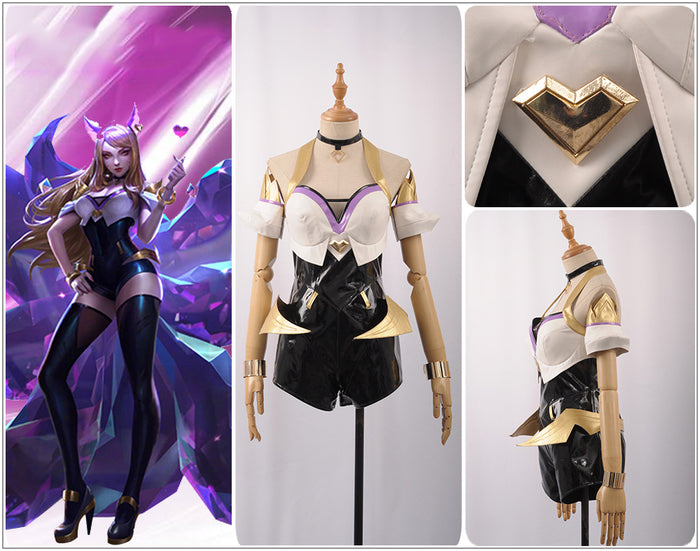LOL League of Legends KDA Ahri Cosplay K/DA TOP Girl Dress Cosplay Costume Adult Outfit