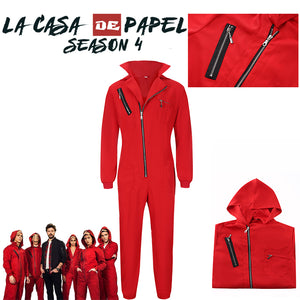 La Casa De Papel Lapel Salvador Dali Cosplay Costume Red Suit Clown Adult Party Halloween Carnival