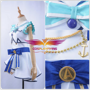 LoveLive SunShine Aqours Kanan Matsuura 6th Anniversary Stage COS Cosplay Costume Custom Sexy Strapless Dress fan-shaped Hairpin