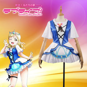 LoveLive!SunShine!! Aqours Mari Ohara Girls Women Female White Stage Activity Cards Cosplay Costume