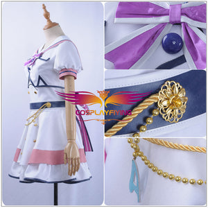 LoveLive SunShine Aqours Ohara Mari 6th Anniversary Stage COS Cosplay Costume Custom Sexy Strapless Dress fan-shaped Hairpin