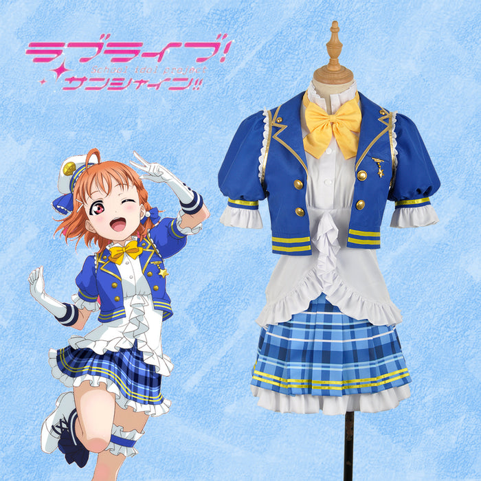LoveLive!SunShine!! Aqours Takami Chika Stage Blue Dress Cosplay Costume