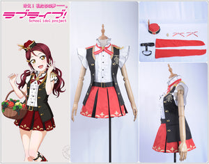 LoveLive!Sunshine!! Aqours Bremen Band Sakurauchi Riko Cosplay Costume Women Ruffles Shirt Chocolate Rompers Overalls