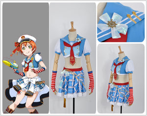 Love Live! Navy Awakening Rin Hoshizora Cosplay Costume Custom Made for Girls Adult Women Halloween Carnival Party Outfits