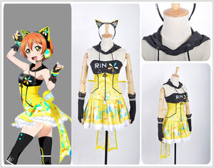 Love Live! Video Games Awakening Rin Hoshizora Cosplay Costume Custom Made for Girls Adult Women Halloween Carnival Party Outfits