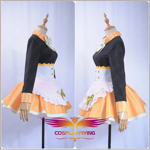Love live Cosplay Tea Party Unawakened Kousaka Honoka Cosplay Costume Maid Uniform Black Shirt Orange Apron Hairpin Socks