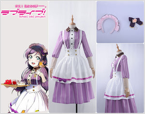 Love live Cosplay Tea Party Unawakened Tojo Nozomi Maid Cosplay Costume Custom Lavender Skirt Apron Hairpin Stockings Hairband