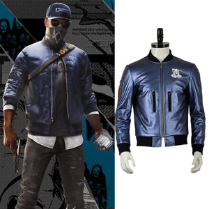 Watch Dogs 2 Marcus Holloway Mask Blue Jacket Top Coat Cosplay Costume for Halloween Carnival