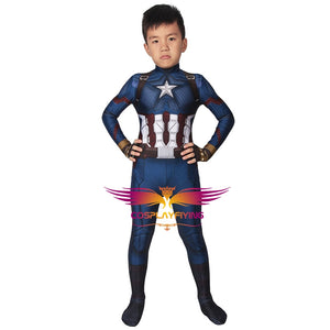 Marvel Kids Cosplay Avengers: Endgame Captain America Jumpsuit Child Size Cosplay Costume