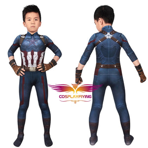 Marvel Kids Cosplay Avengers Infinity War Captain America Steve Rogers Jumpsuit Child Size Cosplay Costume