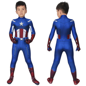 Marvel Kids Cosplay The Avengers Captain America Steve Rogers Jumpsuit Child Size Cosplay Costume