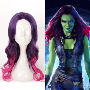 Marvel Avengers: Infinity War Gamora Curly Gradient Purple Pink Cosplay Wig Cosplay Prop for Girls Adult Women Halloween Carnival Party