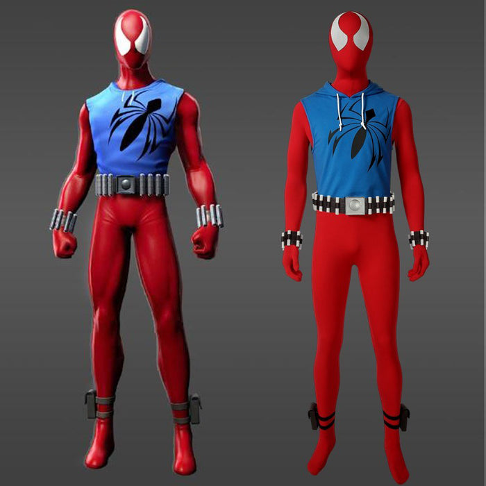 Marvel Avengers Spider-Man Scarlet Spider Ben Reilly Jumpsuit Cosplay Costume for Halloween Carnival