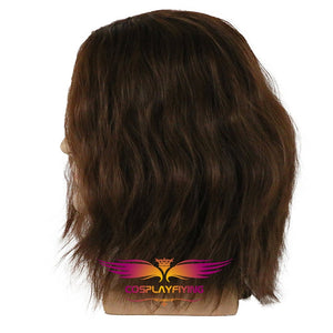 Marvel Captain America 2: The Winter Soldier White Wolf Bucky Barnes Bucky Brown Wavy Cosplay Wig Cosplay Prop for Boys Adult Men Halloween Carnival Party