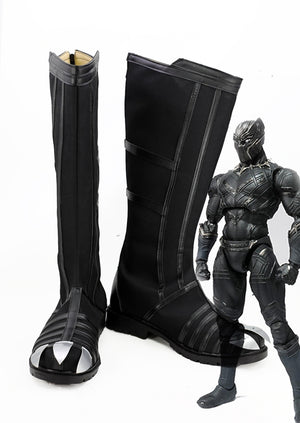 Marvel Captain America: Civil War Black Panther T'Challa Cosplay Shoes Boots Custom Made for Adult Men and Women Halloween Carnival