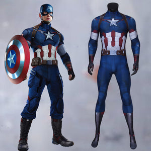 Marvel Comics Avengers 2: Age of Ultron Captain America Steve Rogers Jumpsuit Cosplay Costume Halloween Carnival Party