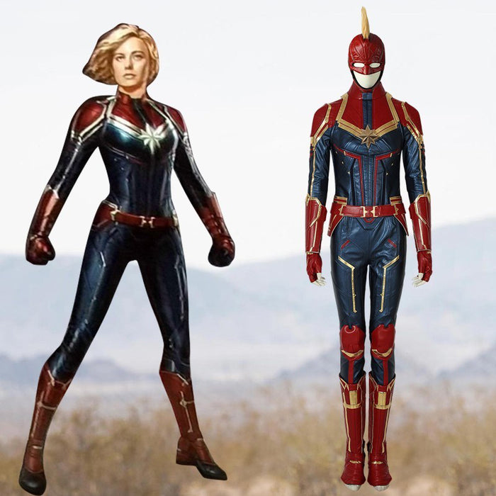 Marvel Comics Avengers Captain Marvel Carol Danvers Cosplay Costume Version E for Halloween Carnival