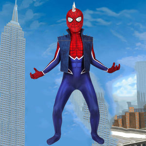 Marvel Kids Cosplay Child Size spider man ps4 Spider-Punk Suit Jumpsuit Cosplay Costume
