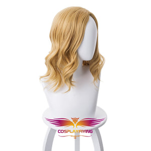 Marvel Movie Avengers 4: Endgame Captain Marvel Carol Danvers Blonde Wavy Cosplay Wig Cosplay Prop for Girls Adult Women Halloween Carnival Party