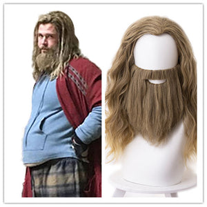 Marvel Movie Avengers 4 Endgame Thor Odinson Cosplay Wig with Beard Cosplay Prop for Boys Adult Men Halloween Carnival Party