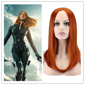 Marvel Movie Captain America 2: The Winter Soldier Avengers Black Widow Natasha Romanoff Long Straight Cosplay Wig Cosplay Prop for Girls Adult Women Halloween Carnival Party