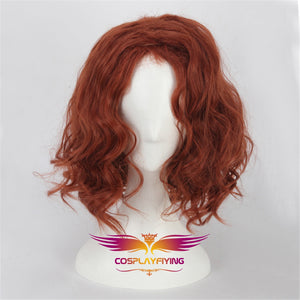 Marvel Movie The Avengers Black Widow Natasha Romanoff Short Fluffy Wavy Cosplay Wig Cosplay Prop for Girls Adult Women Halloween Carnival Party