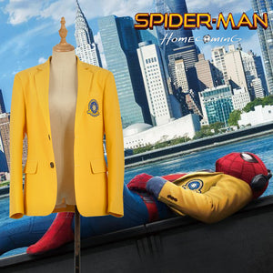 Marvel Spider-Man: Homecoming Peter Benjamin Parker Avengers Outer Yellow Jacket Top Coat Adult Halloween Cosplay Costume