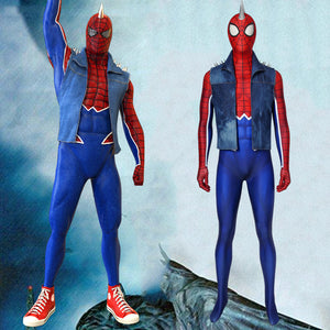 Marvel Spider-Man ps4 Spider-Punk Suit Jumpsuit Cosplay Costume for Halloween Carnival