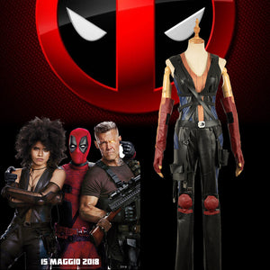 Marvel X-Men Deadpool 2 Domino Battleframe Pleather PU Outfit Cosplay Costume for Adult Halloween Carnival