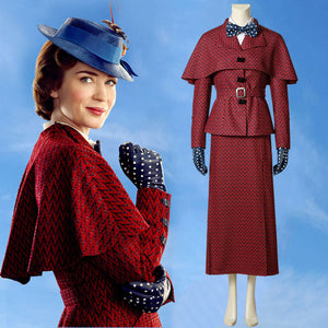 Mary Poppins the Witch Red Dress Cosplay Costume Full Set for Halloween Carnival