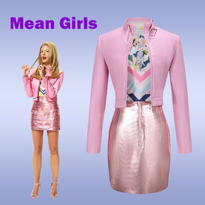Mean Girl Musical Karen Cosplay Costume Halloween Carnival Pink Coat Skirt Adult Outfit