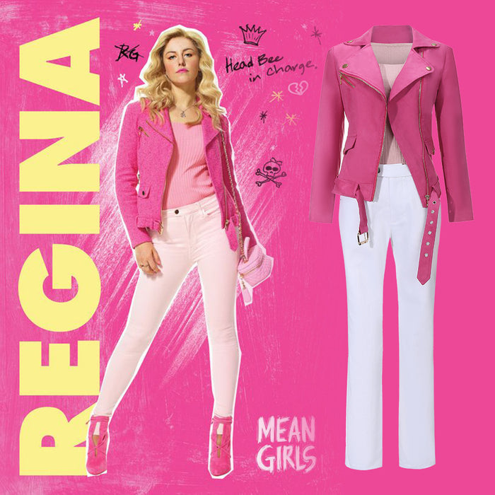 Mean Girl Musical Regina George Cosplay Costume Pink Coat Halloween Carnival Adult Outfit