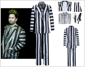 Movie Beetlejuice Adam Black White Stripes Suit Cosplay Costume Adult Man for Halloween Party