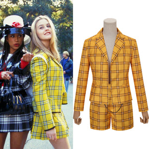 Movie Clueless Culturenik Cosplay Costume Coat + Shorts for Adult Man Women Halloween Party