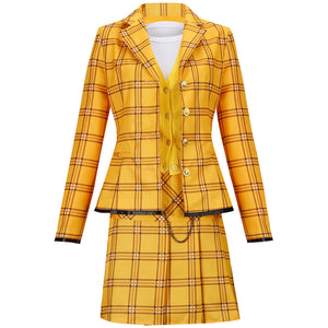 Movie Clueless Culturenik Costume Yellow Stage Suit Cosplay Costume Adult Man for Halloween Party