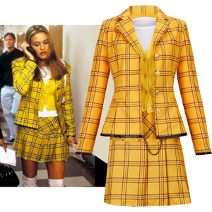 Movie Clueless Culturenik Costume Yellow Stage Suit Cosplay for Halloween Carival Party Outfits