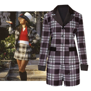 Movie Clueless Dion Cosplay Costume Coat + Shorts for Adult Man Women Halloween Carnival Party