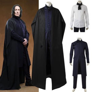 Movie Harry Potter Hogwarts Principal Severus Snape Wizard Witch Robe Full Set Cosplay Costume Halloween Carnival