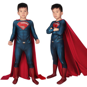 Movie Kids Cosplay Man of Steel Superman Clark Kent Jumpsuit Child Size Cosplay Costume
