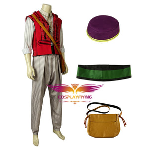2019 New Movie Aladdin Prince Ali Aladdin Adult Men Cosplay Costume Full Set for Halloween Carnival