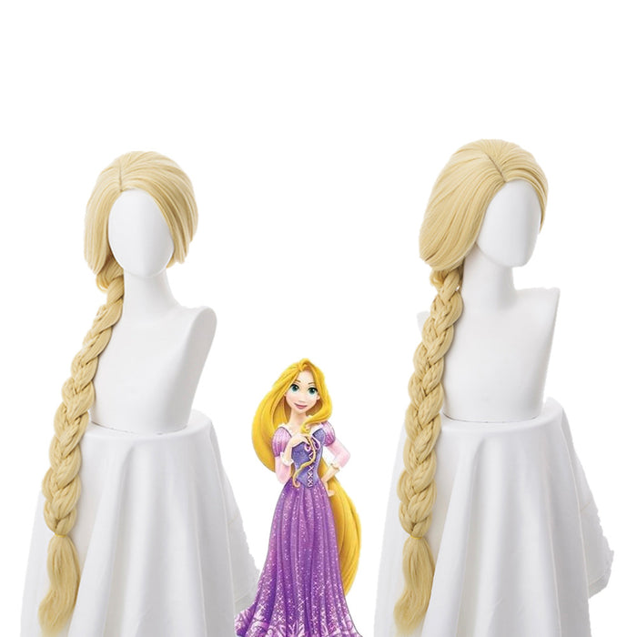 Movie Enchanted Tangled Princess Rapunzel Long Blonde Cosplay Wig Cosplay Prop for Girls Adult Women Halloween Carnival Party