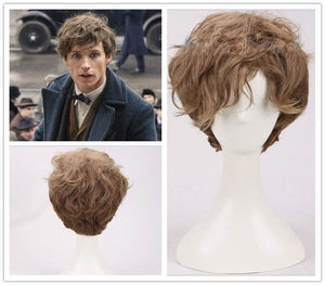 Movie Fantastic Beasts and Where to Find Them Newt Short Brown Gradient Curly Cosplay Wig Cosplay for Boys Adult Men Halloween Carnival