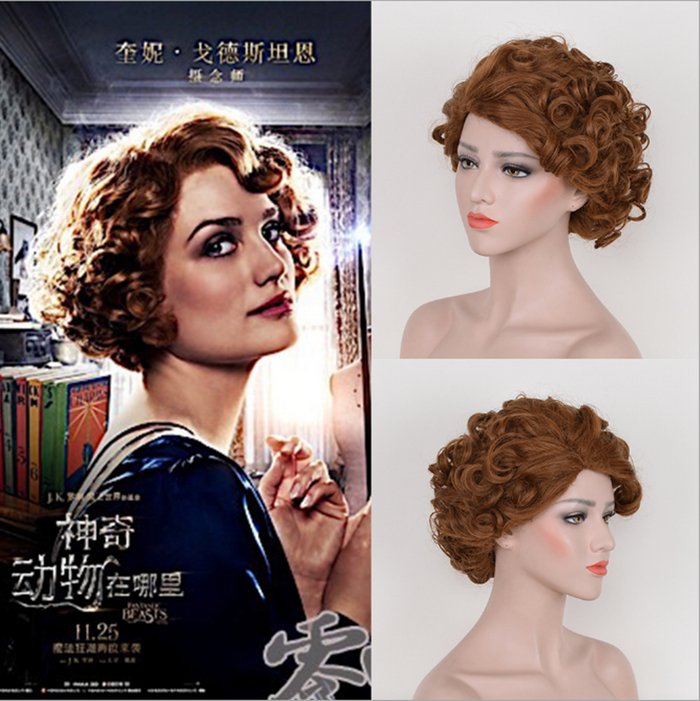 Movie Fantastic Beasts and Where to Find Them Harry Potter Queenie Goldstein Brown Wave Short Cosplay Wig Cosplay for Girls Adult Women Halloween Carnival