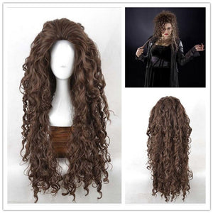 Movie Harry Potter Bella Bellatrix Long Brown Wavy Cosplay Wig Cosplay Prop for Girls Adult Women Halloween Carnival Party