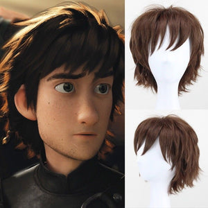 Movie How to Train Your Dragon 2 Hiccup Short Brown Cosplay Wig Cosplay Prop for Boys Adult Men Halloween Carnival