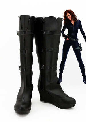 Movie Iron Man 2  Black Widow Natalie Rushman Cosplay Shoes Boots Custom Made for Adult Men and Women