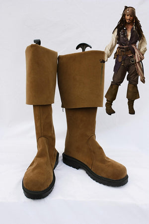 Movie Pirates of the Caribbean Jack Sparrow Cosplay Shoes Boots Custom Made for Adult Men and Women