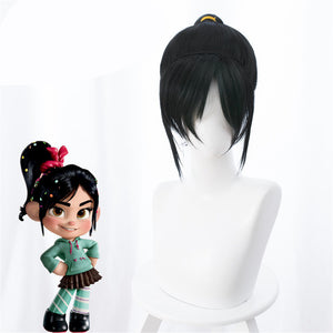 Wreck-It Ralph 2 Breaks the Internet Vanellope Black Cosplay Wig Cosplay Prop for Girls Adult Women Halloween Carnival