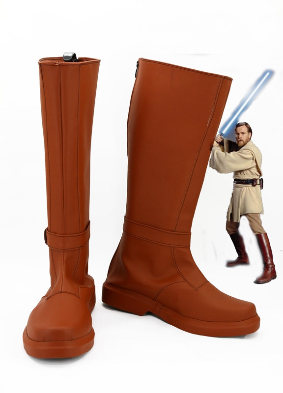 Movie Star Wars Jedi Knight Obi- Wan Kenobi Cosplay Shoes Boots Custom Made for Adult Men and Women